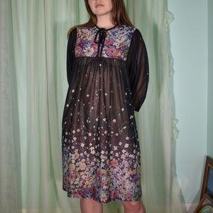 70s sheer dark floral lounge dress